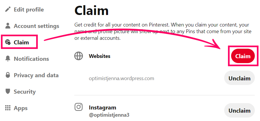 go to claim on Pinterest and claim a website